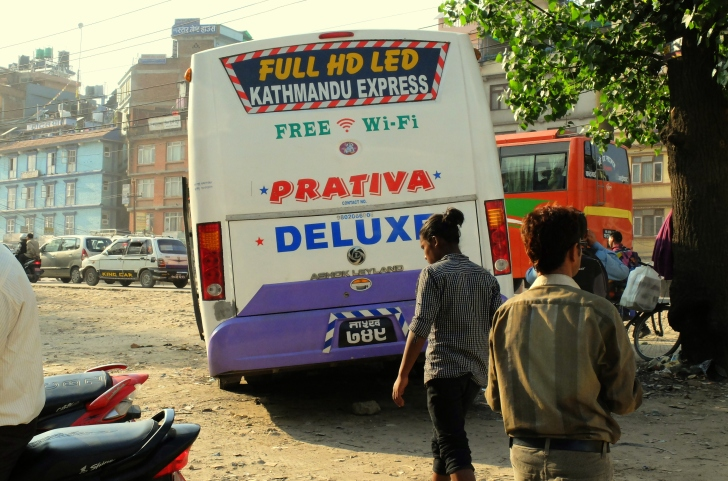 Kathmandu express bus...inside u find everything ;)