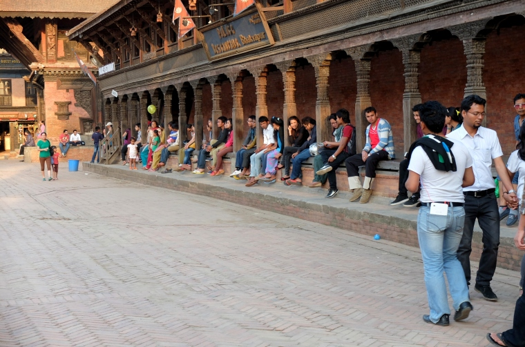 Nepalese youth chilling in the temples